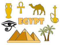 Símbolos egipcios aislados en el fondo blanco Insignias egipcias Foto de archivo libre de regalías