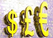 Símbolos euro del dólar de la libra en gráfico del oro Foto de archivo