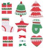 Símbolos feitos a mão do Natal da coleção isolados Foto de Stock Royalty Free