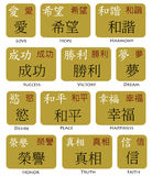 Símbolos japoneses del chino del kanji Imágenes de archivo libres de regalías
