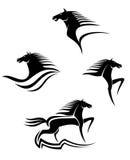 Símbolos negros de los caballos Imagen de archivo