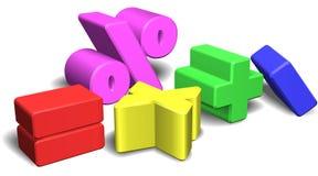símbolos o muestras de la matemáticas 3d Imágenes de archivo libres de regalías