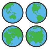 Símbolos ou ícones lisos do globo da terra Fotos de Stock