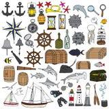 Símbolos pintados a mano marinos Imagen de archivo libre de regalías