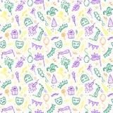 Símbolos verdes, amarelos e violetas do carnaval dentro Foto de Stock Royalty Free