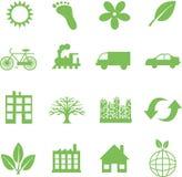 Símbolos verdes de la ecología Foto de archivo libre de regalías