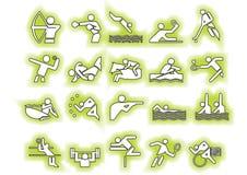 Símbolos verdes de los deportes del vector Foto de archivo libre de regalías