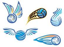 Símbolos y emblemas del voleibol Imagen de archivo