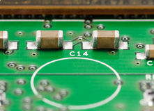SMD Capacitors on PCB Royalty Free Stock Photos