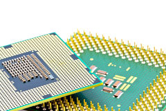 SMD components on bottom of the processors. SMD components on bottom of the new and old PC processors Royalty Free Stock Photography