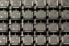 SMD integrated circuits. On tray - macro small DOF Stock Photography