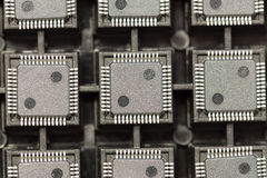 SMD integrated circuits. On tray - macro small DOF stock images