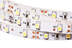 SMD LED le blanches de carte PCB, de LED, commercial et industriel sur rayures photos libres de droits