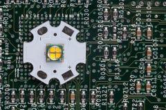 Smd potente LED en el circuito de aluminio de la estrella foto de archivo