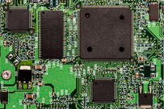 Smd printed electronic circuit board with micro controller Stock Photos