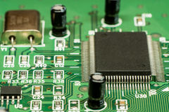 Smd printed electronic circuit board with micro controller Stock Image
