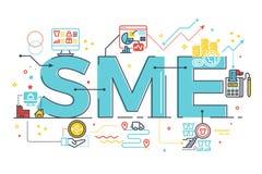 SME, klein und Mittelbetrieb, Wortbeschriftungsillustration Stockfotos