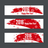 Smear a watercolor painting. Creative happy new year 2016 design with snowflakes. red color Royalty Free Illustration
