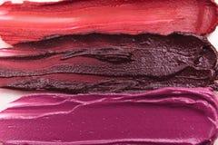 Smeared lipstick range of colorful cosmetics Stock Photo