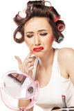 Smeared makeup Royalty Free Stock Image