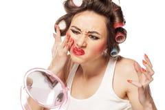 Smeared makeup Royalty Free Stock Photos