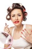Smeared makeup Stock Photo