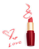 Smeared pink lipstick with hearts Stock Images