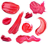 Smears lipstick and lip gloss variety of shapes Royalty Free Stock Images