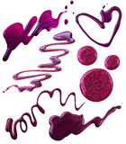 Smears of nail polish bizarre shapes. In purple colors royalty free stock photography