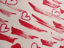 Smears of red lipstick and hearts on white background stock illustration