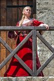 Woman from Europe with medievil clothes from the 14th century. Traditional europe costume. Smederevo, Serbia - May 02, 2019: The Smederevo Fortress is a royalty free stock images