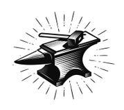 Smeed, smid Aambeeld en hamer, vectorillustratie Royalty-vrije Stock Foto's