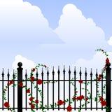 Smeedijzer en rozen stock illustratie