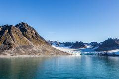 Smeerenburg bay and glaciers in Spitsbergen islands, Svalbard, Norway. View of Smeerenburg bay and glaciers in Spitsbergen islands, Svalbard, Norway royalty free stock photo