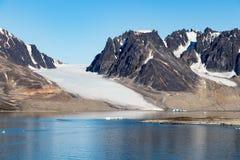 Smeerenburg bay and glaciers in Spitsbergen islands, Svalbard, Norway. View of Smeerenburg bay and glaciers in Spitsbergen islands, Svalbard, Norway royalty free stock images