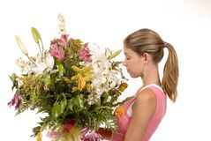 Smell the bouquet Stock Images