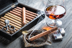 Smell of brandy and smoking a cigar Royalty Free Stock Images