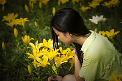 Smell The Flower Royalty Free Stock Images