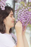 Smell flowers Royalty Free Stock Image