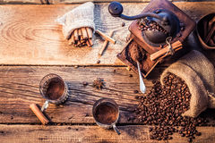 Smell of freshly grinded coffee Royalty Free Stock Photos