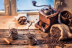 Smell of freshly ground coffee Stock Image