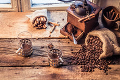 Smell of freshly ground coffee Royalty Free Stock Image