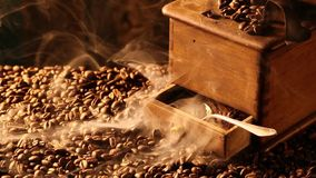 Smell of freshly ground coffee stock video footage