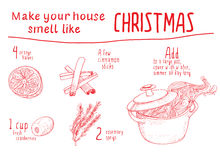 Smell like Christmas recipe. Vector sketch illustration. Hand drawn ingredients for Holidays home fragrance. Orange, cinnamon, rosemary, rose, pot Stock Images