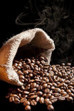 Smell of roasted coffee beans. Royalty Free Stock Photo