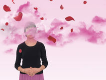 Smell the roses joy or mindfulness concept. Royalty Free Stock Photos