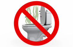 Smell from the Toilet - Prohibited sign, 3d illustration Stock Photography