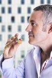 smelling Fotografia Stock Libera da Diritti