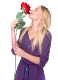 Smelling beautiful red rose Stock Image
