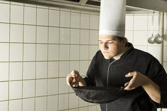 Smelling Chef Stock Images